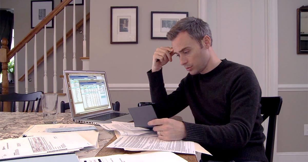Man reviewing financial report