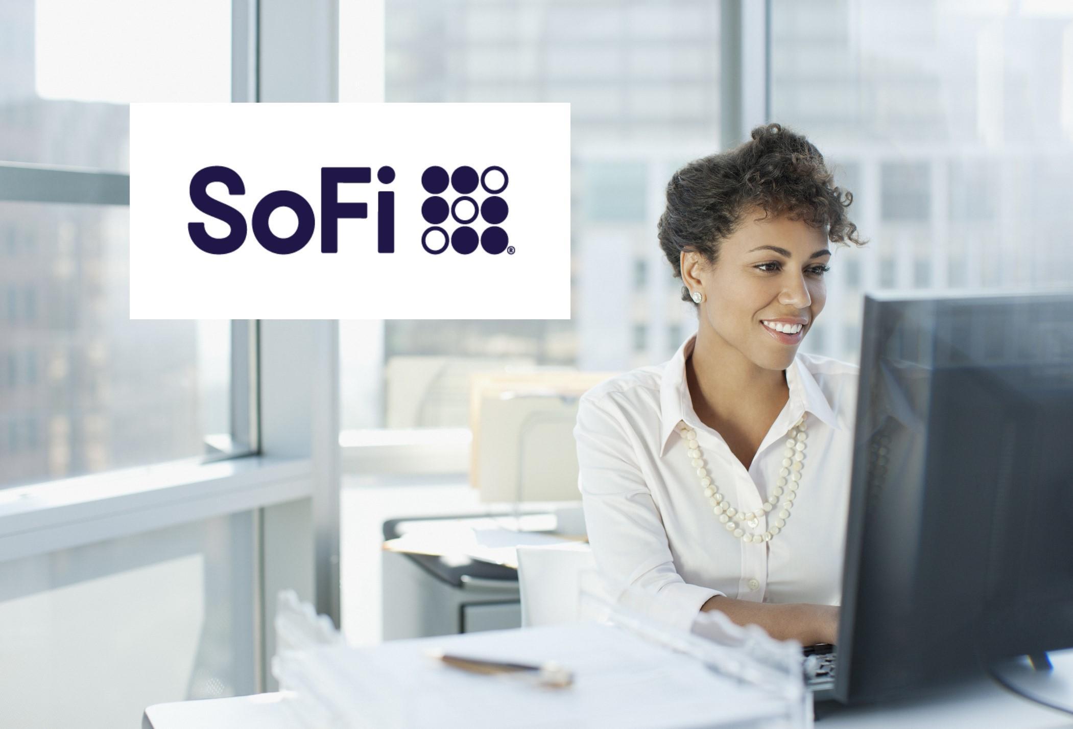 SoFi logo over woman working on computer