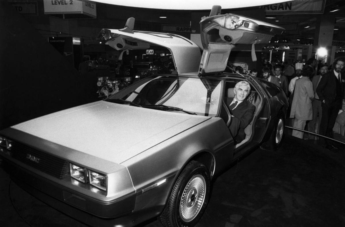 John DeLorean in a DeLorean car