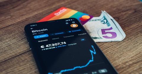 Bitcoin ticker on smartphone app