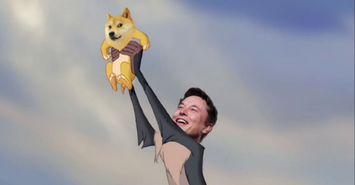 Elon Musk and dogecoin recreating the Lion King scene