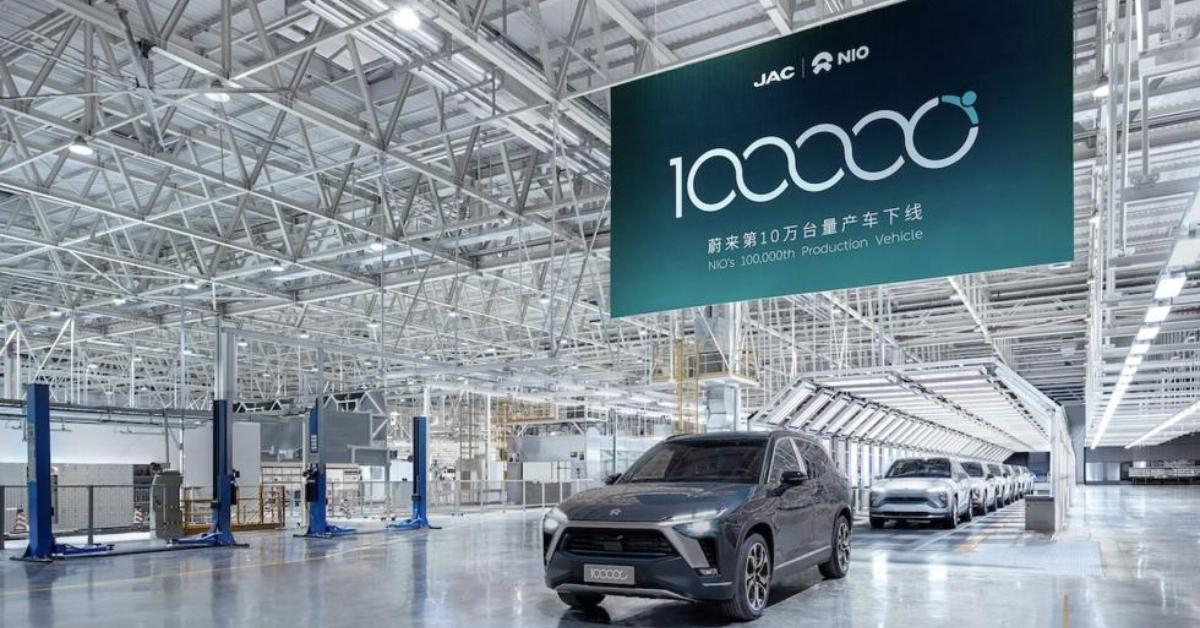 NIO cars on production line