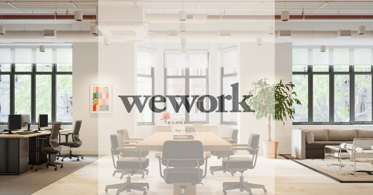 A conference table in a WeWork space