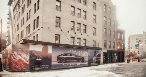 A billboard for luxury electric vehicle maker Lucid Motors
