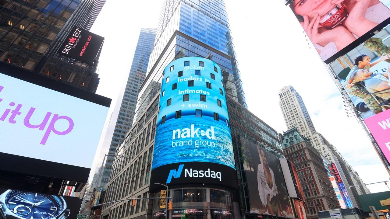 Naked Brands sign on Nasdaq
