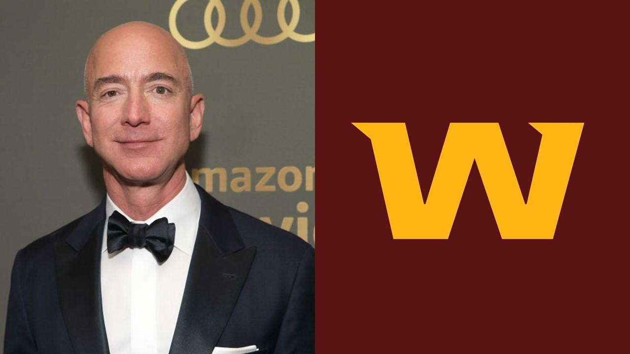 Jeff Bezos and Washington Football Team logo