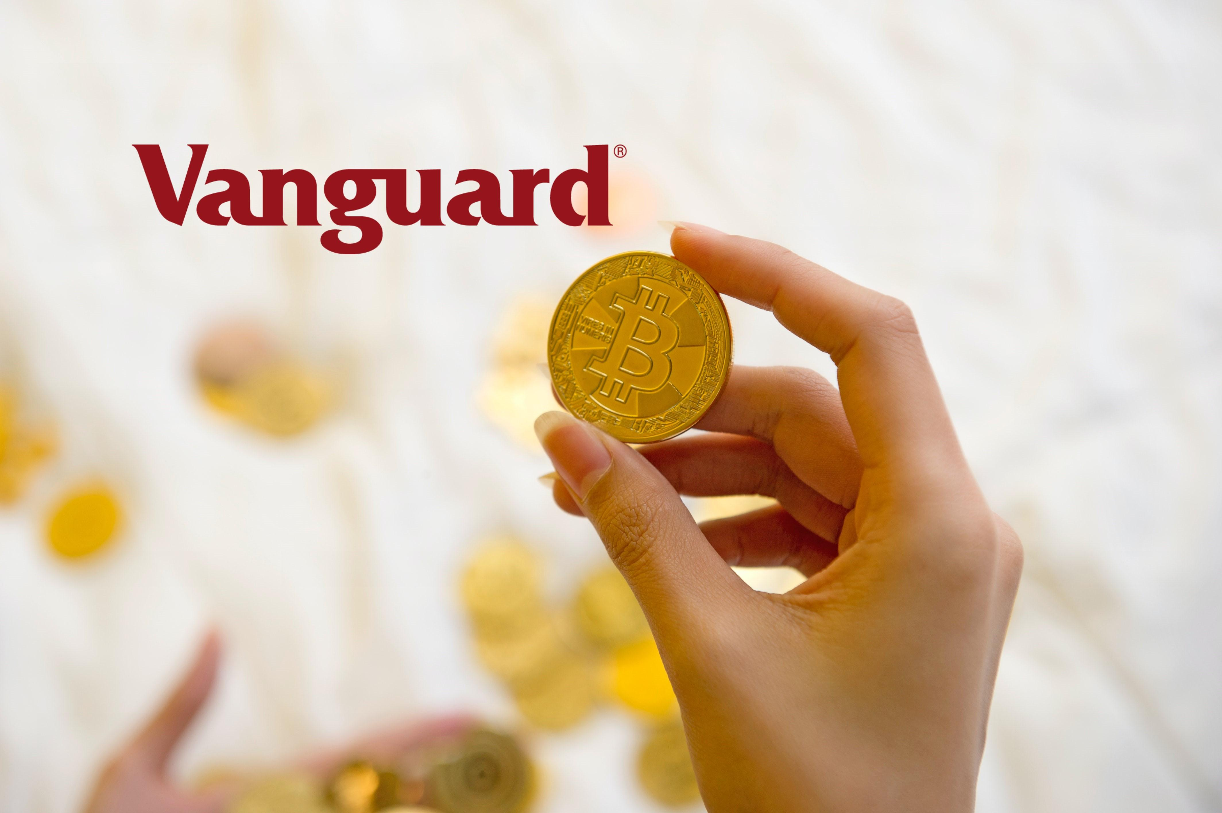 Vanguard logo over bitcoin cryptocurrency replica