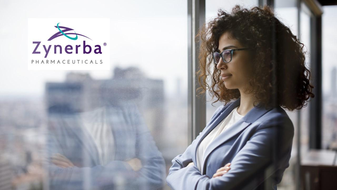 Woman looking out a window and Zynerba logo