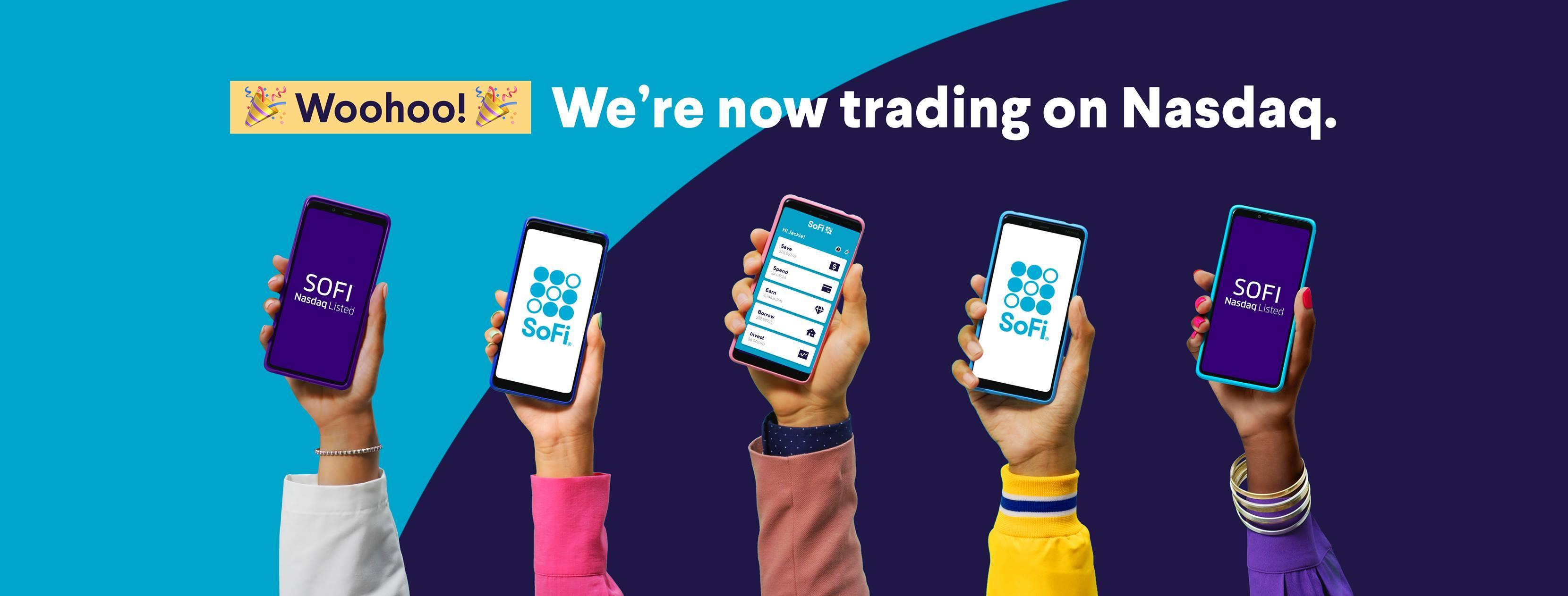 SoFi advertisement about trading on Nasdaq