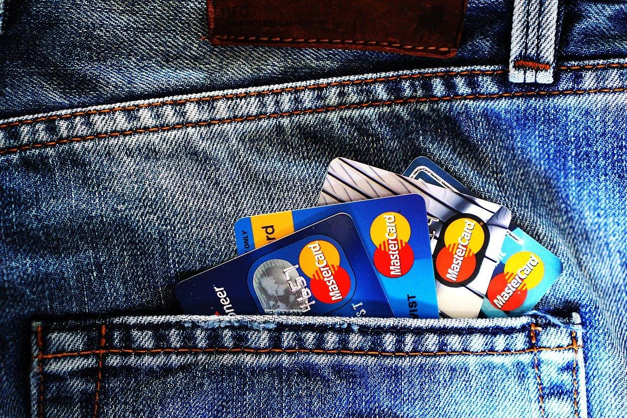 Credit cards in a person's pocket