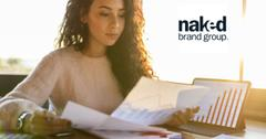 Woman reviewing documents and Naked Brand logo