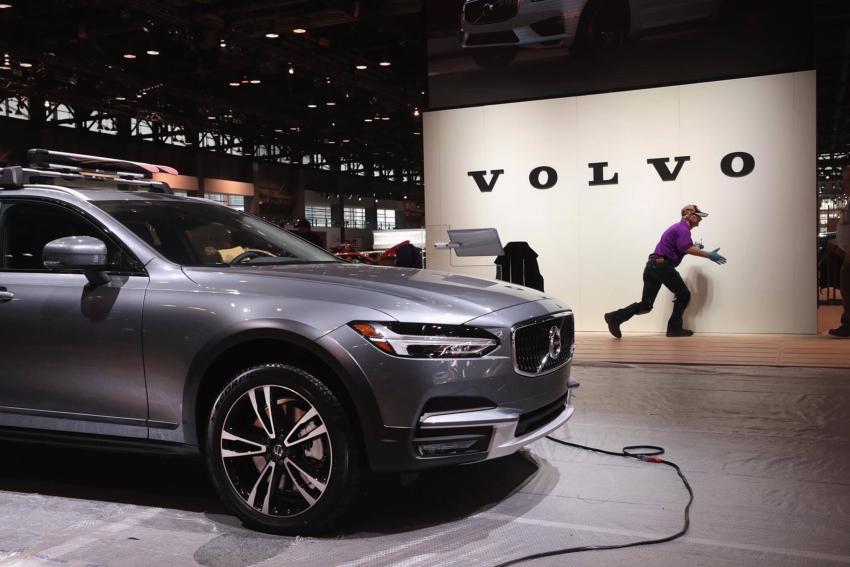 A Volvo car in a showroom