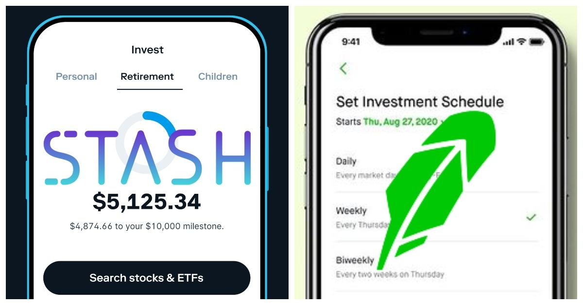 Side by side views of Stash and Robinhood app screens