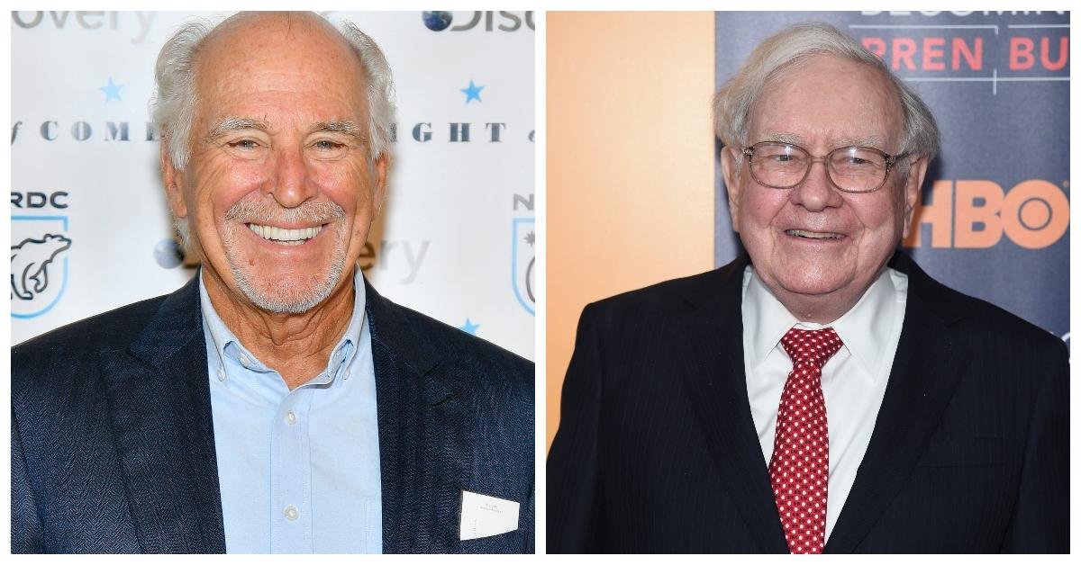 Split photo of Jimmy Buffett on the left and Warren Buffett on the right.