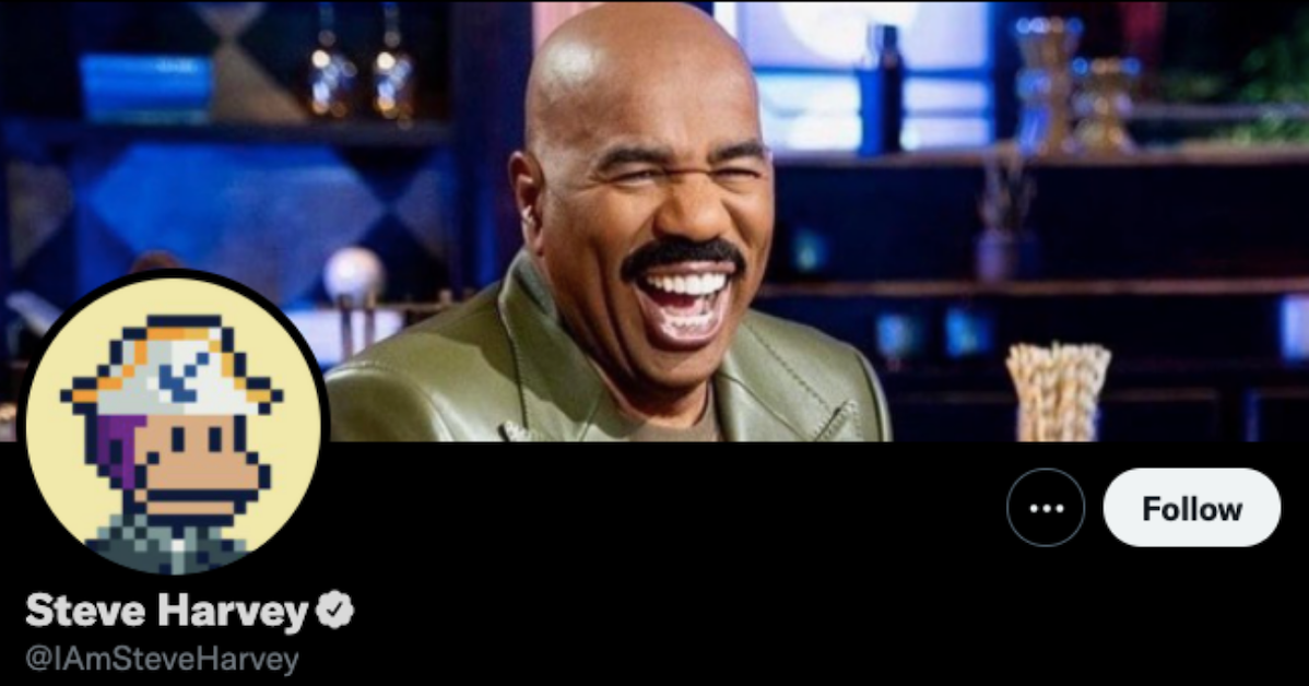 Steve Harvey's Twitter account with a Solana monkey picture