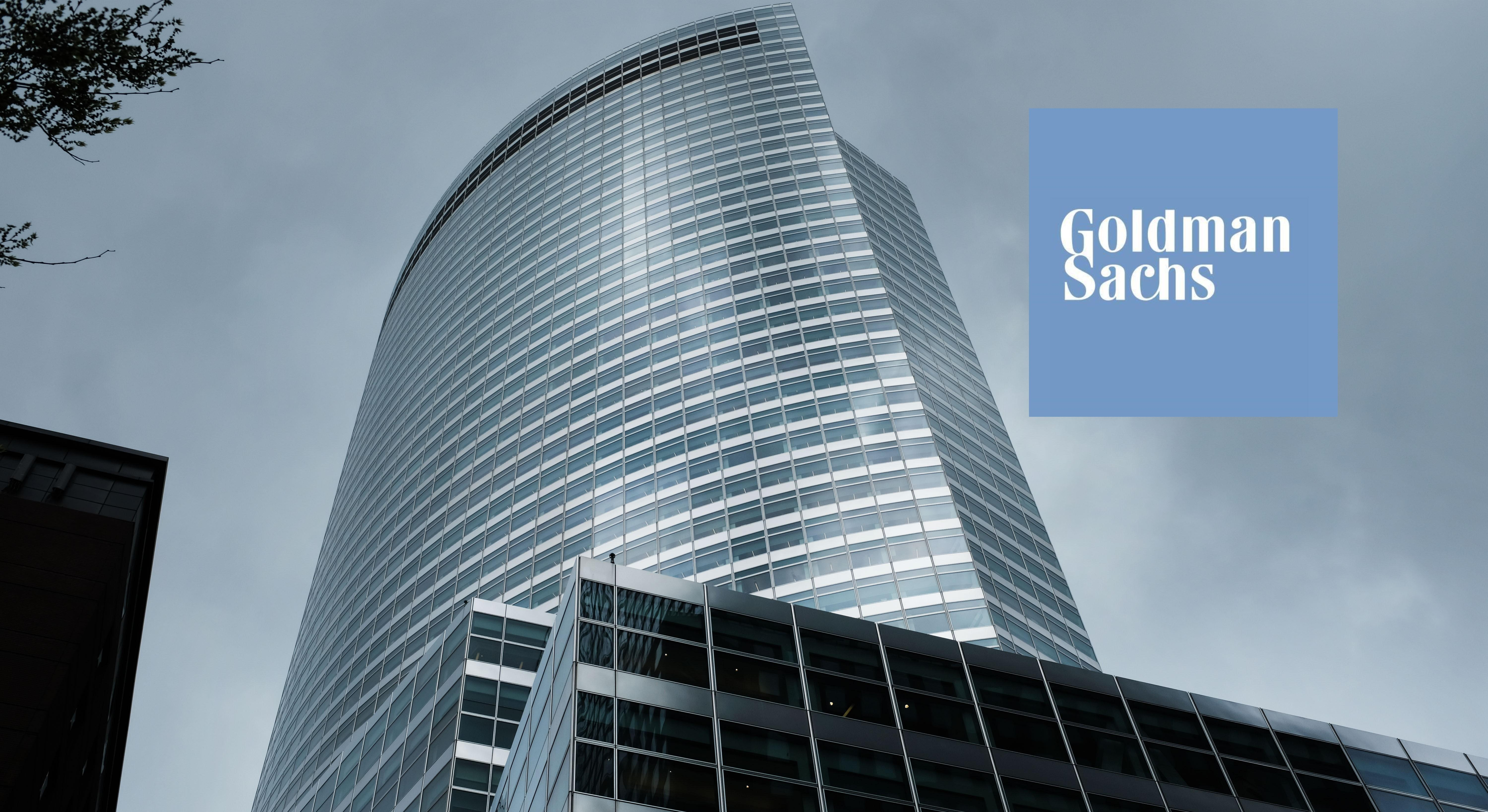 Goldman Sachs building with company logo over it