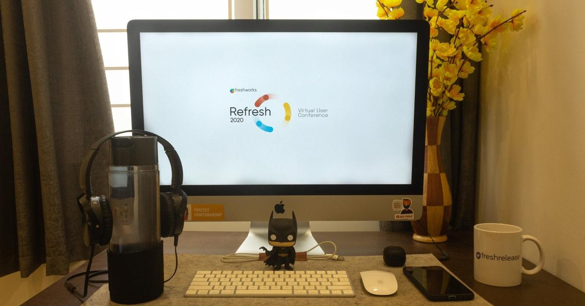Freshworks graphic displayed on a monitor